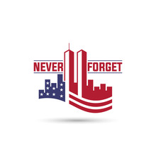 Patriot Day Logo With Twin Towers On American Flag,