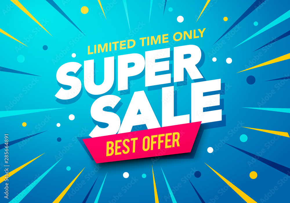 Fototapeta Vector illustration Sale banner template design, Big sale special up to 80% off. Super Sale, end of season special offer banner.