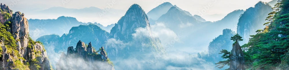 Fototapety, obrazy: Landscape of Mount Huangshan (Yellow Mountains). UNESCO World Heritage Site. Located in Huangshan, Anhui, China.