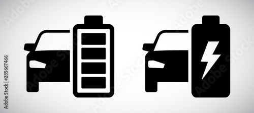 Leinwand Poster Electric car battery icon isolated on white background