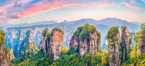 Foto auf Leinwand Himmelblau Landscape of Zhangjiajie. Taken from Yellow Stone Village (Huangshizhai). Located in Wulingyuan Scenic and Historic Interest Area which was designated a UNESCO World Heritage Site in china.