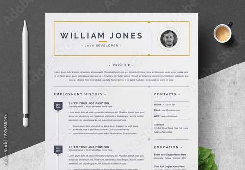 Resume and Cover Letter Layout with Dark Yellow Accents ...