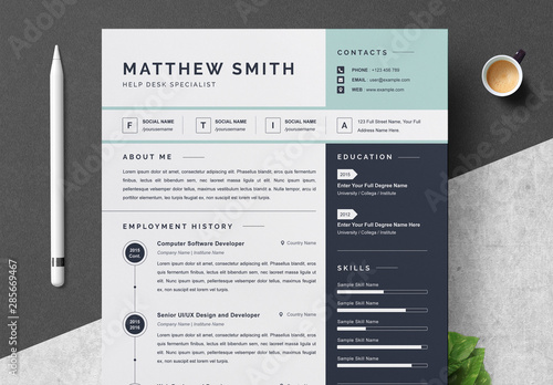 Resume and Cover Letter Layout with Blue Sidebar and Accents ...