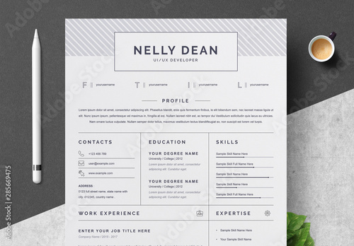 Resume and Cover Letter Layout with Gray Patterned Header ...