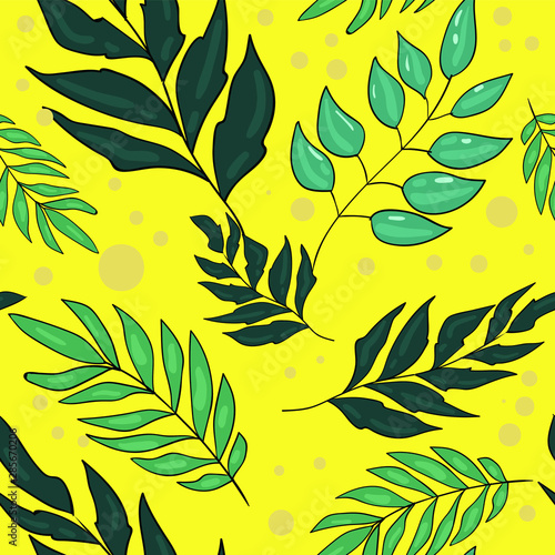 Seamless Vector Pattern With Leaf Tropical Leafs On Yellow Background Good For Printing Wallpaper Fabric And Textile Design Cute Wrapping Paper Pattern Buy This Stock Vector And Explore Similar Vectors At