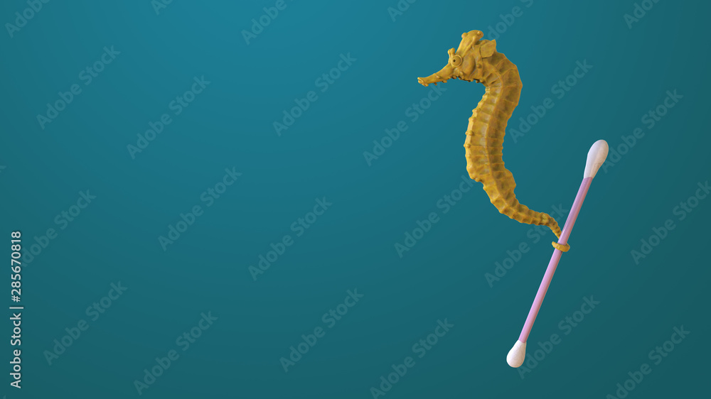 Fototapeta Render sculpt 3d Side view of a Common yellow Seahorse with swabs. Stop ocean plastic pollution. Composed of white plastic waste bag, bottle on blue background. Plastic problem.