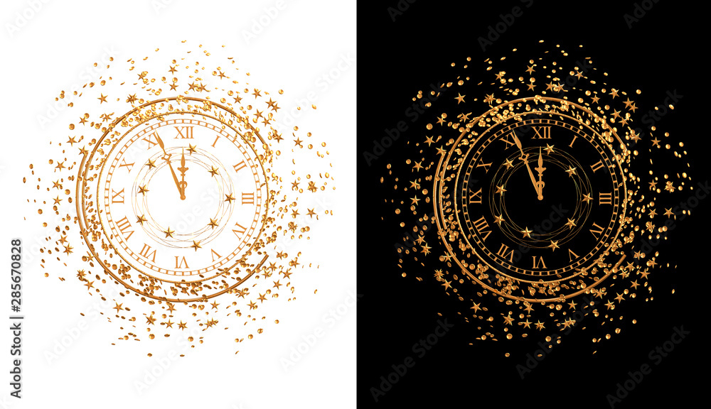 Fototapety, obrazy: Christmas shining background New Year, 2020, round gold clock, luminous circles, tinsel, confetti, stars. 3d rendering