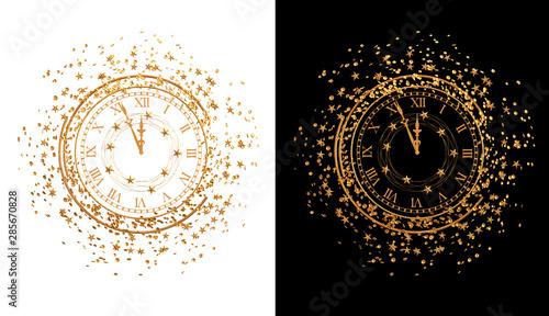 Fototapeta Christmas shining background New Year, 2020, round gold clock, luminous circles, tinsel, confetti, stars. 3d rendering obraz
