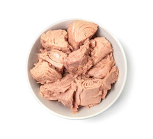 Bowl With Canned Tuna On White Background, Top View