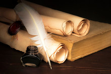 Parchment Scrolls And Inkwell ...