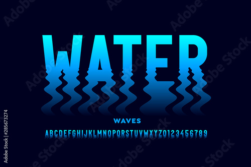 Valokuvatapetti Water waves style font design, ripple effect alphabet letters and numbers