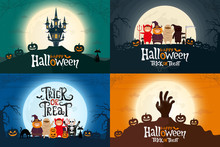 Set Of Happy Halloween Greeting Cards. Four Poster With Kids, Zombie Hand, And Spooky Castle. Vector Illustration.