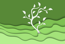 Background With Green Waves And Tree. Abstract Wavy Green Paper Background.