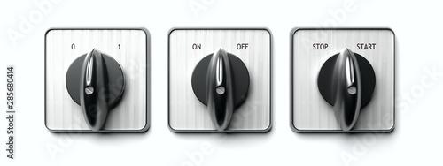 Fotografie, Obraz  Start stop switch panel isolated on white. 3d illustration