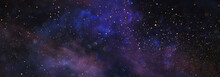 Background Of Abstract Glitter Lights. Blue, Purple And Black. De Focused. Banner