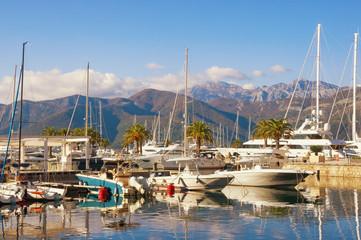 Fototapeta na wymiar Sunny winter day in yacht marina of Porto Montenegro.  Montenegro, Tivat city, Kotor Bay of Adriatic Sea