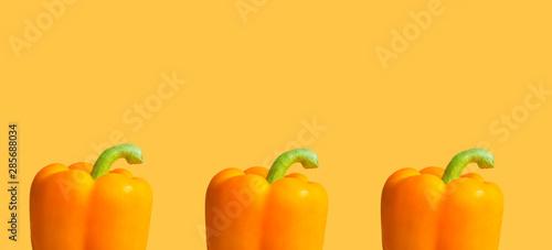 Obraz na płótnie Orange paprika on a yellow background