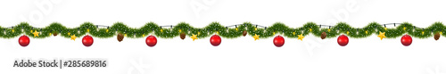 Obraz Christmas garland with lights. Seamless New Year tinsel with snow - fototapety do salonu