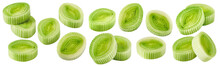 Leek Pieces Set Isolated On Wh...