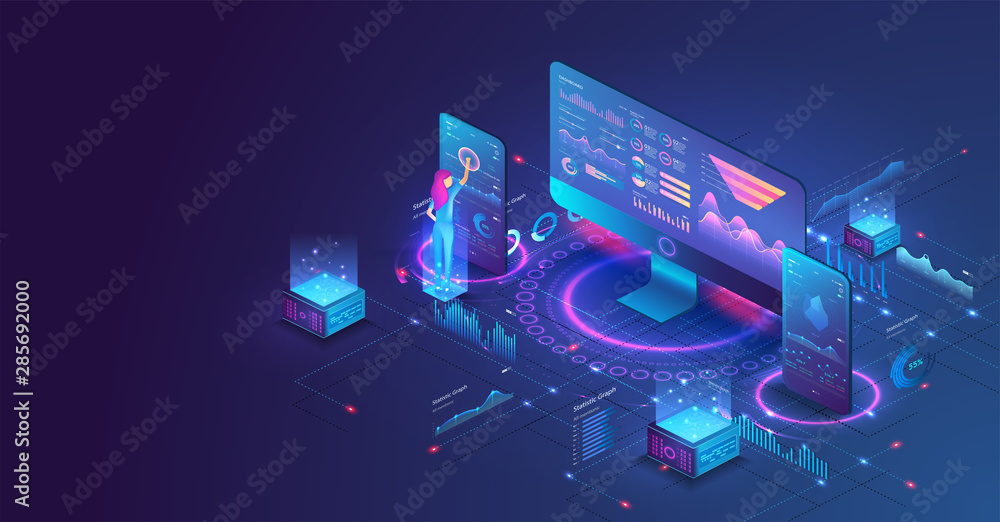 Fototapeta The woman interacting with the statistical analysis and diagram. Data analysis in isometric vector design. Network mainframe infrastructure website layout. Data visualization concept. Trends 3D vector