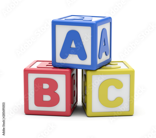 ABC Alphabet Blocks On White Background Canvas Print
