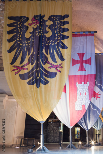 Knightly flags with coats of arms set in halls in the ruins of the fortress in t Wallpaper Mural