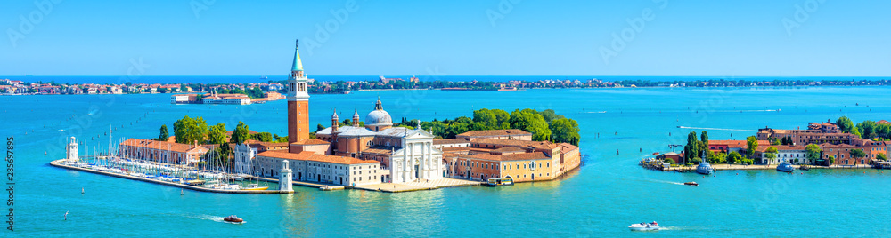 Fototapety, obrazy: Venice skyline, Italy. San Giorgio Maggiore island in Venetian lagoon. Aerial panoramic view of marine Venice city. Beautiful landscape of Venice in summer. Horizontal banner of Venice in the sea.