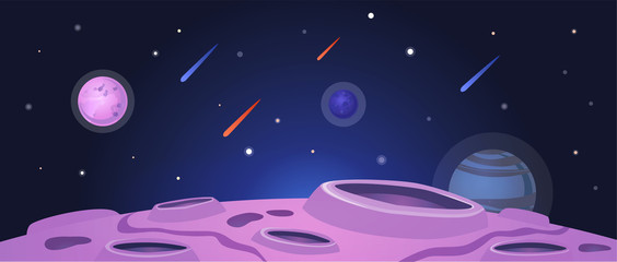Cartoon space banner with purple planet surface with craters on night galaxy sky