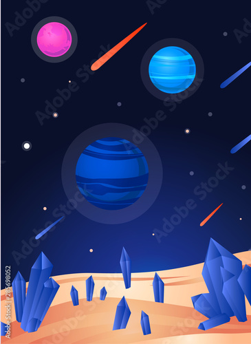 Space landscape poster - colorful view from sand planet with blue crystals Wallpaper Mural
