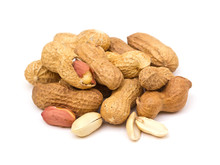 Pile Of Peanuts Isolated On Wh...