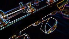 Abstract Color Neon Guitar Headstock With Tuning Pegs