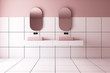 canvas print picture Pink and white tile bathroom, double sink
