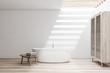 Leinwanddruck Bild White bathroom with tub and wardrobe