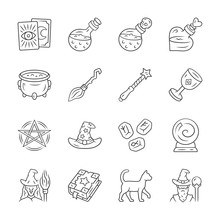 Magic Linear Icons Set. Witchc...