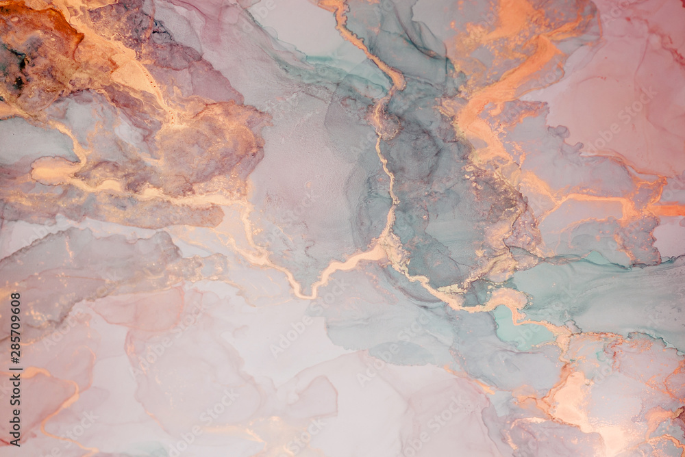 Fototapeta Alcohol ink. Style incorporates the swirls of marble or the ripples of agate.  Abstract painting, can be used as a trendy background for wallpapers, posters, cards, invitations, websites.