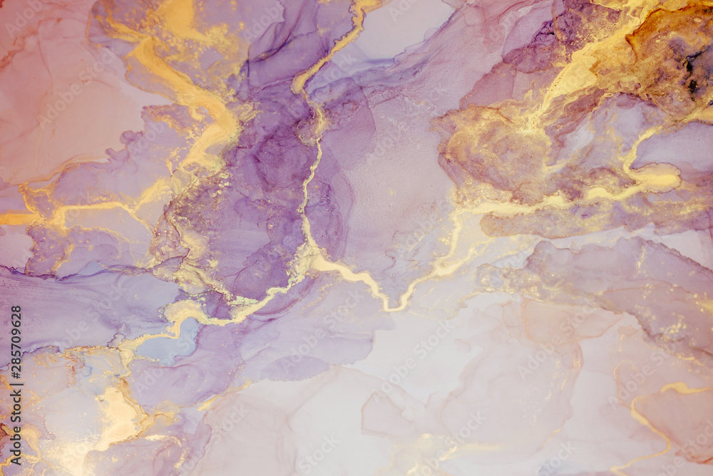 Fototapety, obrazy: Alcohol ink. Style incorporates the swirls of marble or the ripples of agate.  Abstract painting, can be used as a trendy background for wallpapers, posters, cards, invitations, websites.