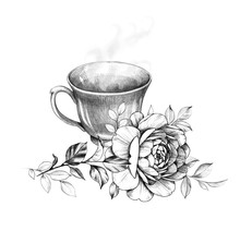 Cup Of Hot Tea And Rose