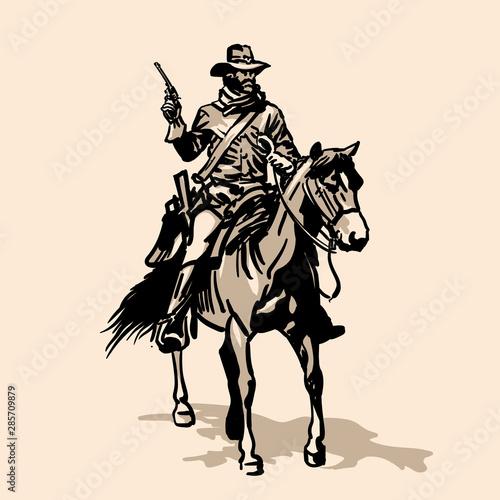Recess Fitting Art Studio Horseman Soldier Southern of the US Civil War.