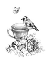 Cup Of Tea, Bird And Butterfly