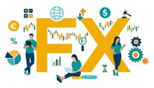 FX. Foreign Exchange Market. Global Financial Market. Stock Exchange. Forex Banking. Financial Management And Financial Data Analysis. Business Team. Vector Illustration With Icons And Characters.