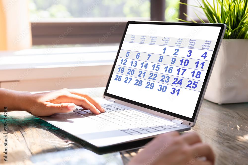 Fototapeta Businesswoman Looking At Calendar On Laptop