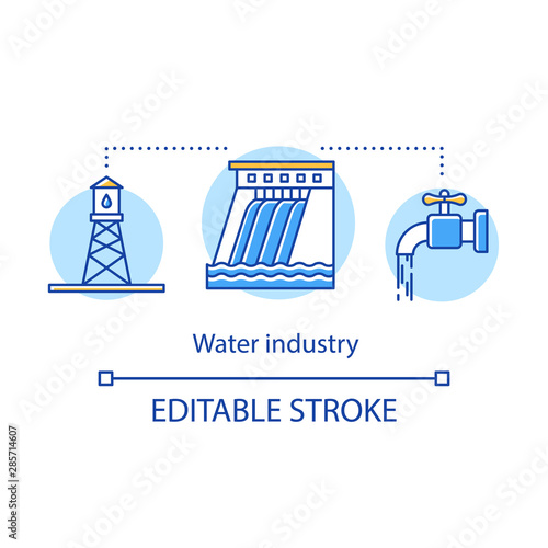 Water industry concept icon Wallpaper Mural