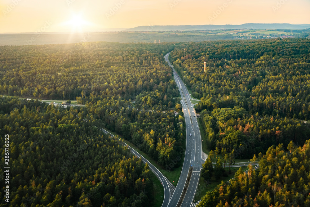 Bird view of highway in forest