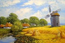 Oil Paintings Rural Landscape, Old Village, Windmill In Ukraine. Fine Art
