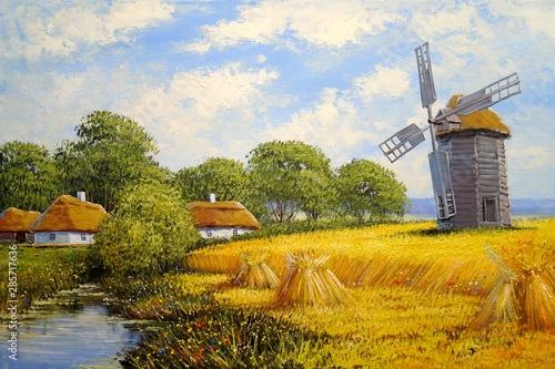Photo Oil paintings rural landscape, old village, windmill in Ukraine