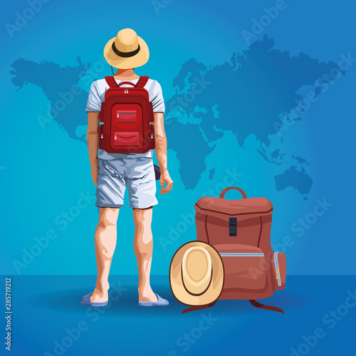 Foto Backpack traveler tourist back cartoon