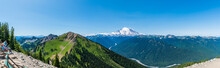 Panorama Of Northeast Face Of Mount Rainier Showing Little Tahoma Peak And The White River With Mount Adams Visible In The Far Left-Taken From Crystal Mountain Summit-2581