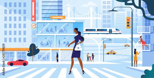 Photo Woman Walking along Road Crosswalk in Metropolis