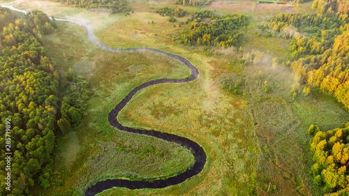 Foto auf Leinwand Honig Aerial landscape - river valley at sunrise