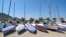Small Sailboats Are Docked On ...